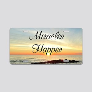 MIRACLES HAPPEN Aluminum License Plate